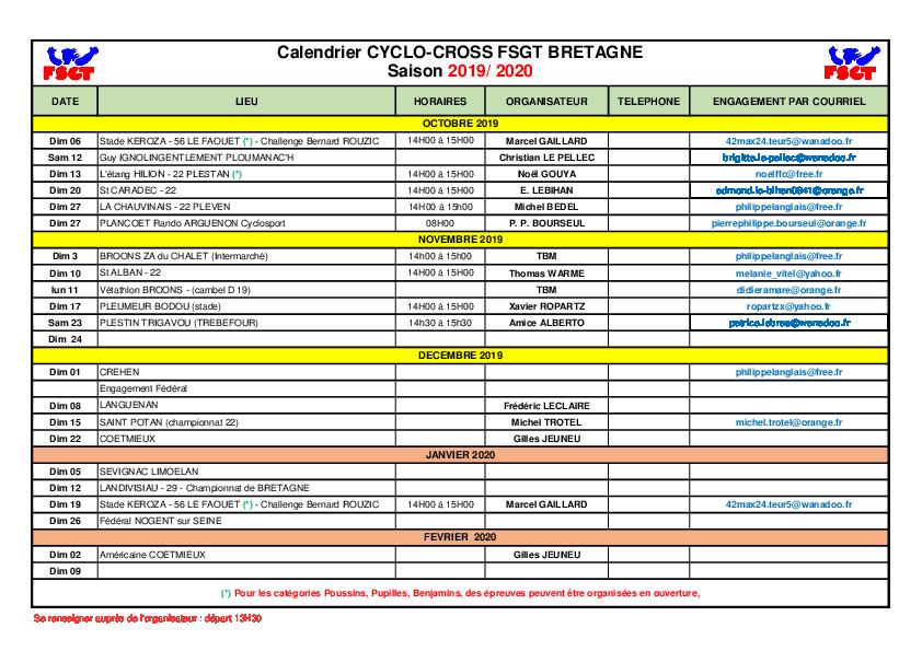 Calendrier Cyclo 2020.Calendrier Cyclo Cross Fsgt Bzh La Roue D Or Begarroise
